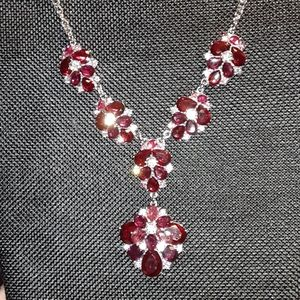 CHARTER CLUB  SILVER CRYSTAL LARIAT NECKLACE